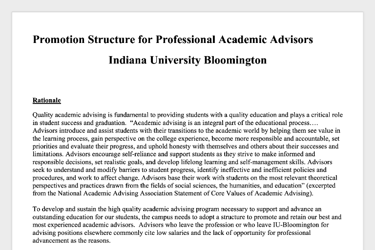 Promotion structure document for the Academic Advisor promotion process at IU Bloomington.