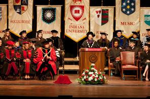 Rahaf Safi, Michael Auslen, Andrew McLaren, Kristin Froehle, and Najja Marshall receive IU senior achievement awards