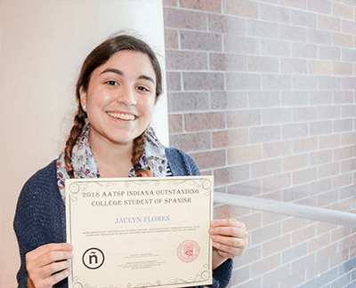 AATSP Indiana Chapter recognizes IU senior Jaclyn Flores among 8 others during IFTLA conference