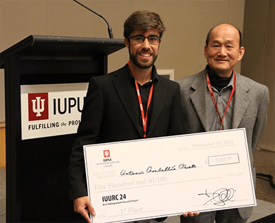 IU senior Antonio Cembellin Prieto wins first place for Indiana University Undergraduate Research Conference (IUURC) Best UG Research Project Award